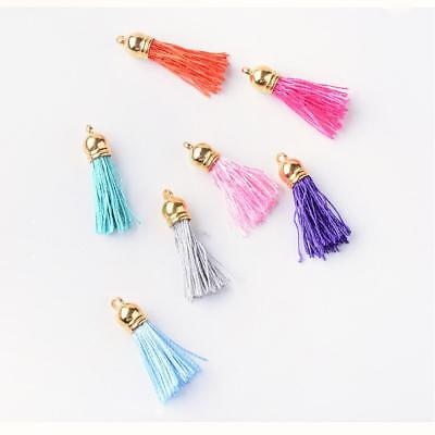 10 x Polyester Tassel Decoration with Gold End various Colors(FIND-T005-A)