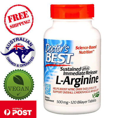 Doctor's Best, Sustained Plus Immediate Release L-Arginine 500 mg 120 Vegan Tabs