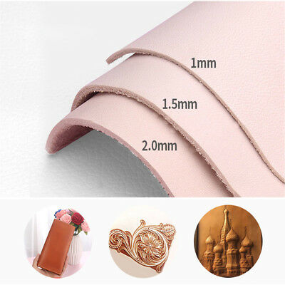 1-2mm Natural Genuine Cow Leather Sheet DIY Craft Piece 20*14-30*30cm Hot