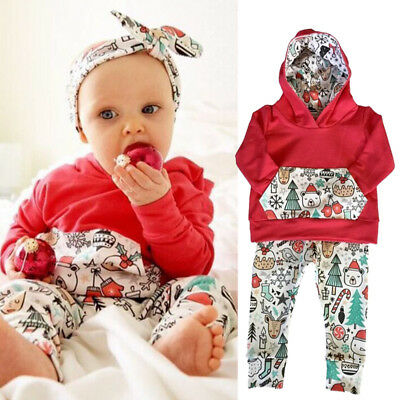 US Toddler Baby Boys Girls Christmas Hoodies Sweatshirt Tops Long Pants Outfits