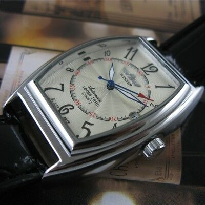 Luxury Automatic Mechanical Leather Strap Stainless Steel Date Men's Wrist Watch