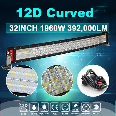 "4 Row 12D 32Inch 1960W Curved LED Light Bar Spot Flood Off road 34"" 35"" 31"" 30"""