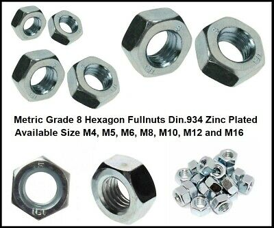 Zinc Plated Hexagon Full Nut DIN934 M5 M6 M8 M10 M12 M16 Hex Nuts for Bolts