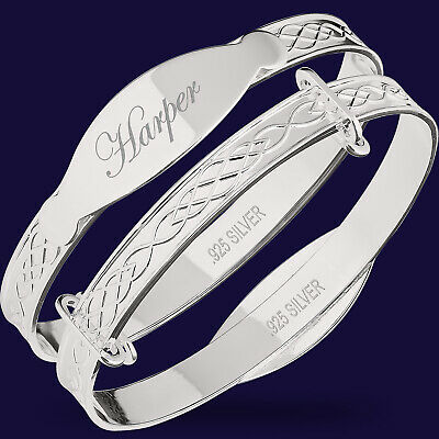 PERSONALISED Real Silver Baby Bangle Kids Christening Birthday Gift 925 Sterling