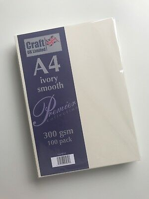 Craft UK A4 Card Ivory / White Smooth 100 to 500 sheets 300gsm - Lovely & thick!