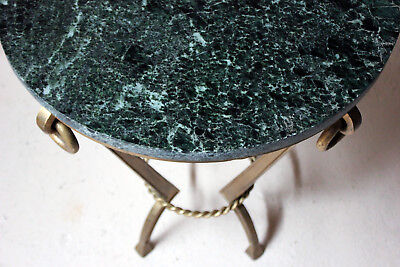 Antique Art Deco Circular Serpentine Marble & Gilded Metal Occasional Table