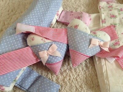 Vintage Love & Kisses baby's R Us Curtains blue, pink floral Shabby polka dot