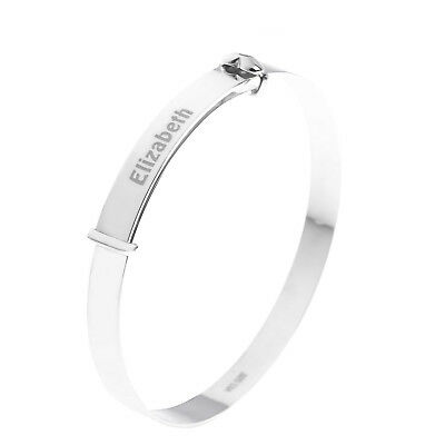 PERSONALISED Silver 'Baby's First Diamond' Crystal Bangle Kids Gift 925 Sterling