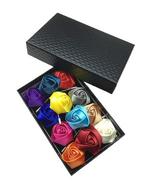 Box Of 12 Men's Lapel Pin Set with Handmade Rose Flower Boutonniere For Suit