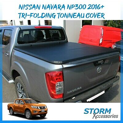 Nissan Navara NP300 2016 ON D/C Tri-Folding Fold Up Tonneau Cover - Black