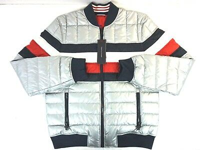 NWT Tommy Hilfiger Men's Silver Striped Cold Stop Puffer Jacket Small