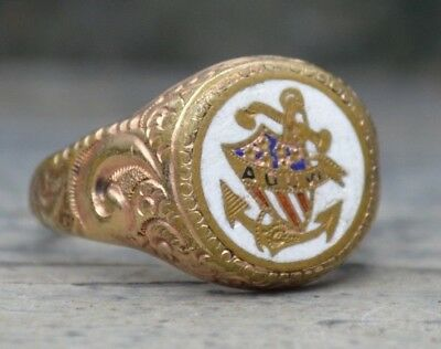 VTG Art Deco 1920s ANCIENT ORDER UNITED WORKMEN Mexican Souvenir Biker Ring 11