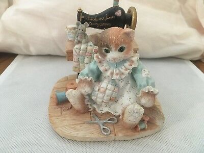 """CALICO KITTENS """"STITCH in TIME"""" LIMITED ED AUTOGRAPHED Cat Sewing 1994"""