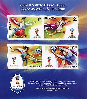 Romania 2018 MNH FIFA World Cup Football Russia 2018 4v M/S Soccer Sports Stamps