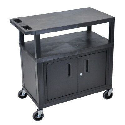 "Luxor EC34C-B 34.5"" High Black 3-Shelf Utility Cart with Cabinet"
