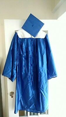 """Oak Hall Graduation Cap And Gown blue with white collar 5'9"""" to 5'11"""""""