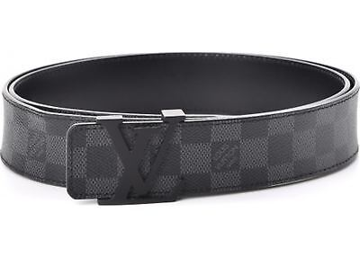 Black Gray Checkered large Buckle Unisex men women's classic Leather Belt 34-38""