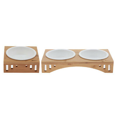 Pet Feeder - Elevated Dog Cat Bowls And Stand Set Nature Wood Raised Holder