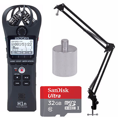 Zoom H1n Digital Handy Recorder with Knox Boom Arm Stand and 32GB Bundle