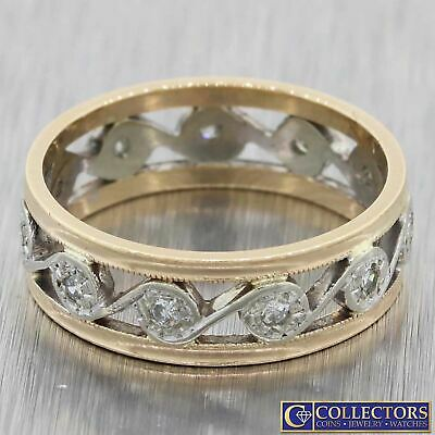 1930s Antique Art Deco 14k Multi Gold .10ctw Diamond 6mm Wide Band Ring G8
