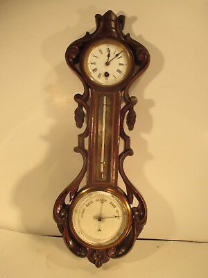Antique Carved Wooden Wall Clock with Barometer & Thermometer