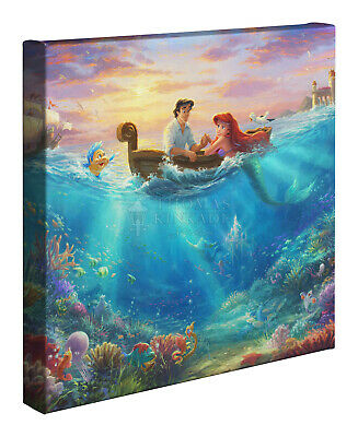 Thomas Kinkade Studios Disney Little Mermaid Falling in Love 14 x 14 G. Wrap