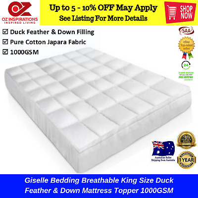 Giselle Bedding Breathable King Size Duck Feather & Down Mattress Topper 1000GSM