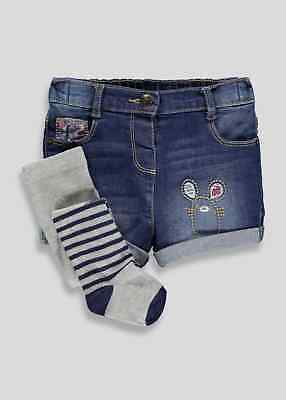 Girls Denim Shorts & Tights Set Outfit Girls  2-3 Years Mouse Detail  BNWT