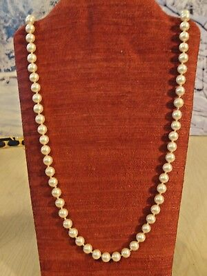 "STUNNING Vintage Estate Find Hand Knotted GLASS FAUX PEARL 30"" NECKLACE Unmarked"