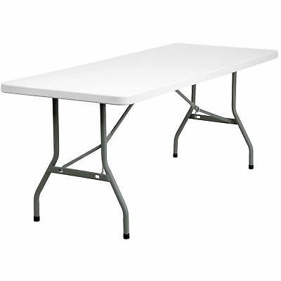 """30"""" x 72"""" Heavy Duty Folding Plastic Granite White Table Commercial Banquet 6'"""