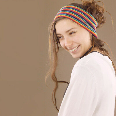 Headband Rainbow Stripes Hippy Boho Scrunch Stretch Nepalese 100% Cotton Wide