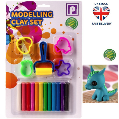 MODELLING CLAY SET FULL COLOURED PLASTICINE KIT Soft Shape Cutters & Roller NEW