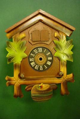 Vintage German Cuckoo Coo Coo Clock Wood Case For Parts Repair Animated  Lot8