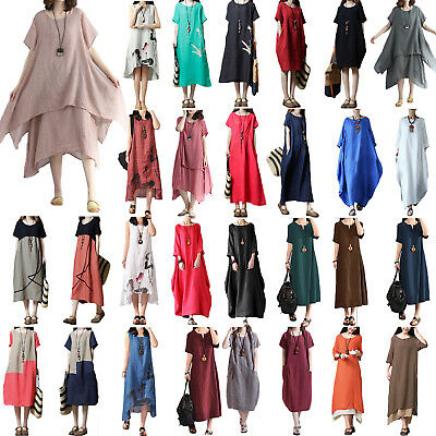 Plus Women Summer Baggy Cotton Linen Casual Loose Long Maxi Dress Boho Kaftan UK