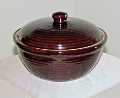 Vintage Brown Glaze Ribbed Casserole or Side Dish with Lid ~ USA ~ Hull?