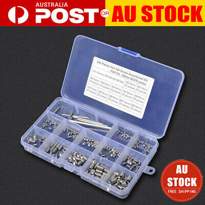 240Pcs M3/M4/M5/M6/M8 Hex Socket Set Grub Screws Assortment Kit w/ 5pcs Hex Keys