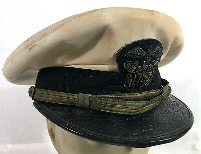 a2ee4dbcfe3 WWII US NAVY NAVAL RESERVE VISOR CAP Named (SIZE 7 1 4) Wicker