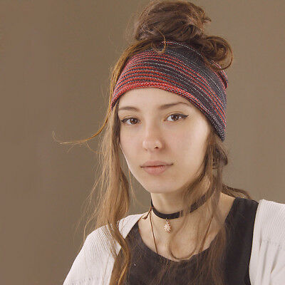 Headband Red Black White Hippy Boho Scrunch Stretch Nepalese 100% Cotton Wide