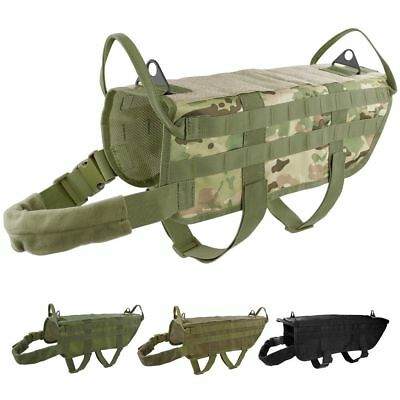 Tactical K9 Hunting Military Police Molle Dog Vest Nylon Service Canine Harness