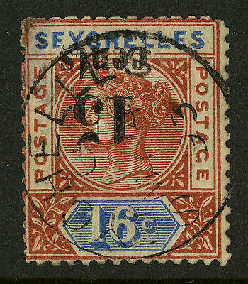 Seychelles  1893  Scott # 24a  USED - thin at UL