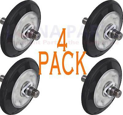 4 Pack Lot of 4581EL2002A Dryer Drum Roller Wheel and Shaft for LG
