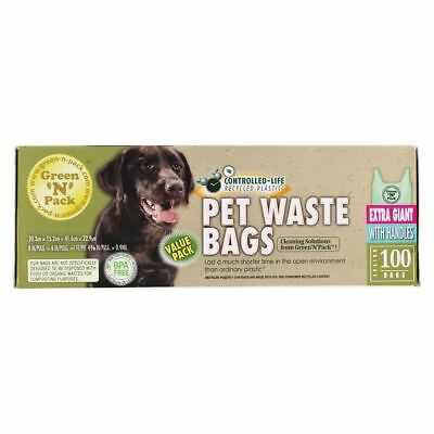 Green 'N' Pack Eco Friendly Bags - Extra Giant Pet Waste Bags with Handles - 100