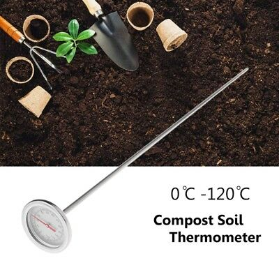 Premium Stainless Steel Compost Soil Thermometer Garden Backyard 0℃-120℃ 50cm