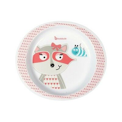 BADABULLE Assiette Micro-ondes - Fille - Pink racoon