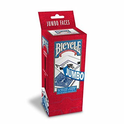 Bicycle Poker Size Jumbo Index Playing Cards Pack of 12 Red/Blue