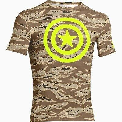 Nwt Men's Under Armour Marvel Ua Heatgear Camo Captain America Compression Shirt