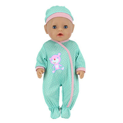 """Doll jumpsuit with hat for 43cm baby 18"""" dolls clothes O"""