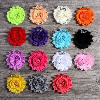 """30pcs 3.6/"""" Chiffon Fuzzy Edge Shabby Flower For Girls Striped Leopard With Pearl"""