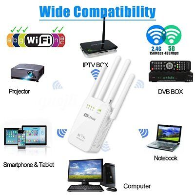 300/1200Mbps Wifi Repeater N 802.11 AP Range Router Wireless Extender Booster AU