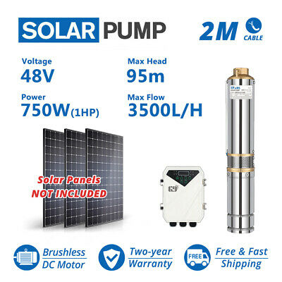 3 inch DC Solar Water Pump 48V 1HP 3.5T/H 95m Deep Bore Well Submersible Ranch